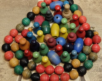 Vintage Wooden Game Pieces Beads Supply Lot