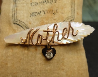 Vintage Mother's Day Pin Mother of Pearl Script Heart Charm