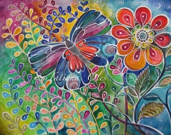 Original watercolor painting by Tatiana Oles / flowers /butterfly / summer time