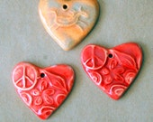 Reserved! 3 heart beads - 2 Red Peace hearts and one orange horse heart