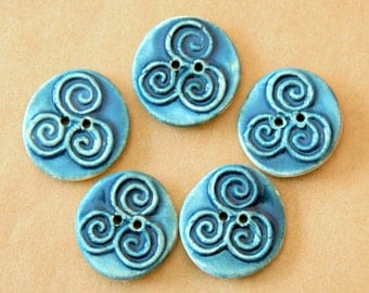 5 Ceramic Triskele  Buttons - Triple Spiral Handmade Buttons in Teal Blue-green Stoneware - Celtic Buttons - Focal Festival Buttons