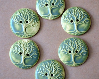 6 Handmade Ceramic Buttons - Tree of Life Buttons in Autumn Sage Green - Stoneware Buttons - Knitting Supplies - Focal Button