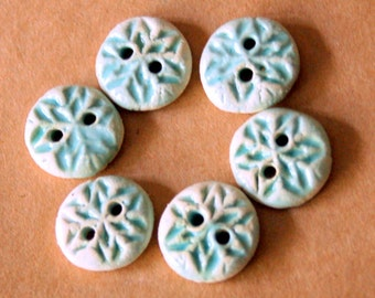 6 Handmade Stoneware Buttons - Snowflake Buttons Ceramic Buttons in Light Aqua