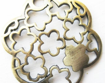 Gold baroque ornate floral brass pendant  x 1
