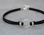 O-Ring choker necklace, Suede choker, Thin black choker, bdsm choker, bdsm collar, bdsm jewelry, Choker necklace, Chocker