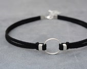 O-Ring choker necklace, Suede choker, Thin black choker, bdsm choker, bdsm collar, day collar, bdsm jewelry, Choker necklace, Chocker