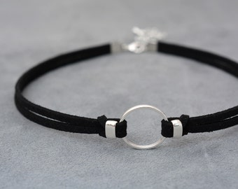 O-Ring choker necklace, Suede choker, Thin black choker, bdsm choker, bdsm day collar, submissive day collar, Chocker, teenagers gift
