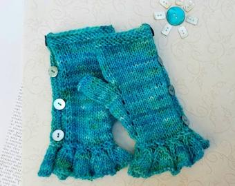 Aqua Handknit Fingerless Gloves.  Merino Wool.