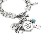 Graduation Bracelet, Graduation Gift, Student Graduation, She believed she could so she did, Diploma Charm, 2016, Monogram Initial
