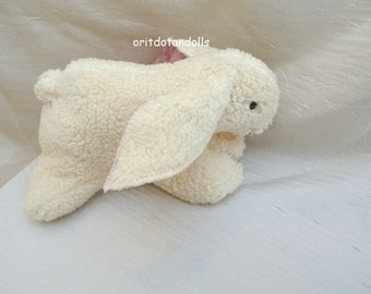 Bunny soft toy made of fur cotton Waldorf education