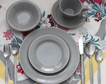 1950s Harlequin Gray 5 Piece Place Setting Vintage Rare Homer Laughlin Plate Cup Saucer Bowl Bread and Butter Mid Century Modern Fiestaware