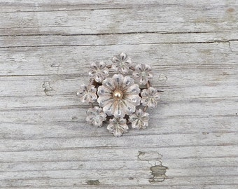 Vintage Antique 1850/1900  French silvered floral fantaisie brooch