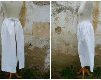Vintage Antique French Victorian Edwardian 1890/1900 white cotton workwear /long peasant apron