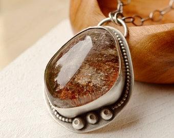 Large Lodolite Quartz Statement Necklace, Garden Quartz Necklace, Mineral Specimen Necklace, Eye Catching Unique Jewelry