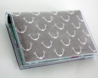 Handmade Vinyl Card Holder - Trompettes de Mort / card case, vinyl wallet, snap, women's wallet, small wallet, mushrooms, antlers, deer