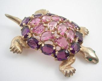 Vintage Rhinestone Turtle Brooch