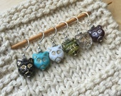 6 Pretty Kitty Stitch Markers - Crochet or Knit - You Choose