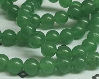 6mm dark Green Dyed Jade full strand