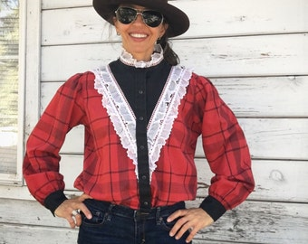 Vintage 70s Cowgirl blouse,Country Western,prairie shirt,lace,American,Wild West,red,checkered pattern,snap buttons,Kenny Rogers