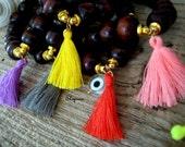 Buddha,Mala Bracelet-tassel Wood beaded Bracelet-meditation beaded bracelet-Lucky Charm Jewelry-Hippie,Bohemian Bracelet-Tassel Bracelet