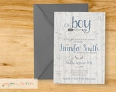 Antler and arrows - Baby Boy - Baby Shower Invitation - Digital File or Printed