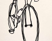 Bicycle Art Print - Classic Fixie Fixed Gear Track Training Bike- Black on White