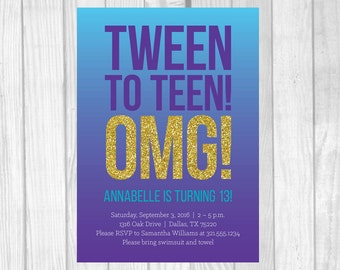 Custom Printable 5x7 Tween To Teen Girl's 13th Thirteen Birthday Party Invitation - Purple, Aqua and Gold Glitter - Digital Download
