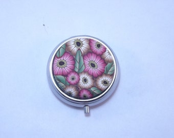 Pill Box, Handcrafted Fall Colored Gerbera Daisies Polymer Decorated Container