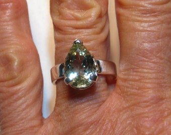 NaturalGreen Beryl  ... Sterling Silver and 14 kt Gold Ring . size 7  1/2  .............   e859
