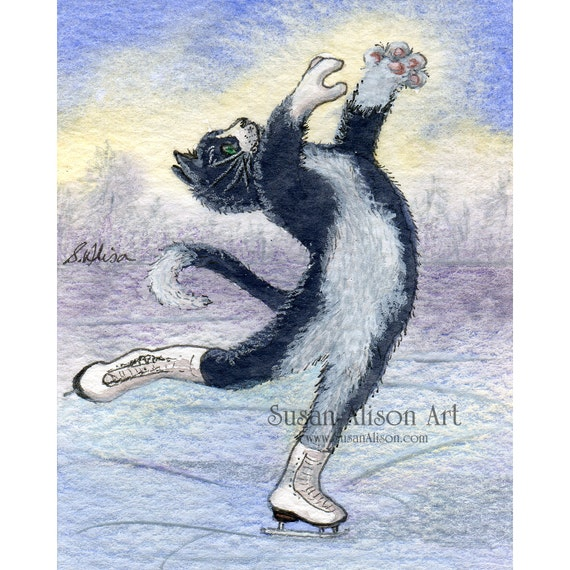 Ice skating tuxedo cat 5x7 8x10 11x14 inch art print figure lay back position black and white kitten from Susan Alison watercolour painting