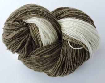 Hand Spun Gradient Yarn Single Shades of Natural White, Pale Brown, Chocolate Merino Wool 15-10-12