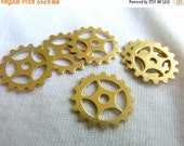 ON SALE Small Gear or Cog Charms Brass Stamp Blanks 16mm 6 Pcs
