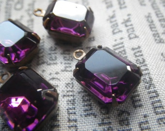 Amethyst Purple Swarovski Crystal 12x10mm Octagon Brass Ox Glass Drops 4 Pcs