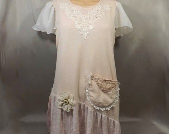 Mori Girl Upcycled T-shirt Hand Dyed Shabby Chic Small