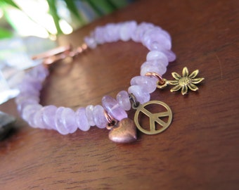 Lavender Aemthyst Gemstone Bracelet - Flower Peace Heart - Mixed Metals Charms Peace Flower Heart -Stone Jewelry - Boho Free Spirit Style