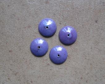 Enamel Bead Caps - Bead Caps - SueBeads - Violet Round Bead Caps - Enameled Bead Caps
