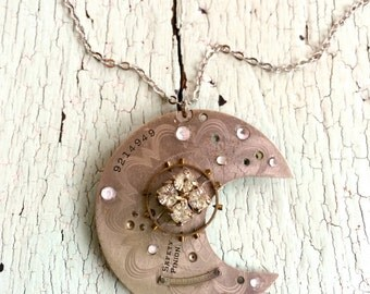 Moon Necklace - Repurposed Vintage