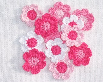 12 handmade pink and white crochet applique flowers -- 1859