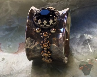 Onyx stone ring, gold silver ring, wide silver band, sterling silver ring, two tones ring, floral ring, crown ring, boho - City Nights R2290