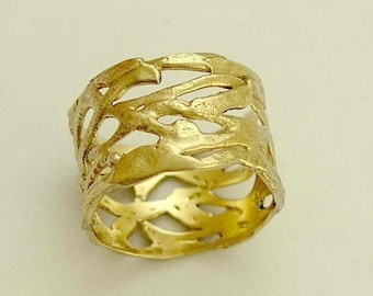 Solid gold ring, Yellow gold ring, brushed gold ring, wide ring, infinity knot ring, 14k gold band, wide band - The love of your life RG1345