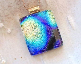 Dichroic Pendant, Glass Pendant, Fused Glass Jewelry, Gold,  Cobalt Blue, Necklace Included, A7, AF
