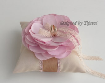Rings pillow with pink flower ---wedding rings pillow , wedding pillow, ring bearer pillow, ring cushion, ready to ship