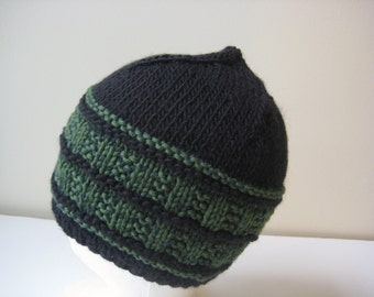 knit mans hat green and black cap hand knit wool hat