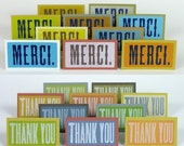 THANK YOU Letterpress Notes French Spanish Japanese English 40 pack mini cards