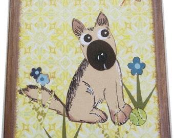 Dog Leash Holder, Hanger, Hook, Key Holder, Hanger, Hook, Wall Hanging, Plaque, Nursery Baby's Room, Mutt Dog, Puppy, 5x7, READY TO SHIP