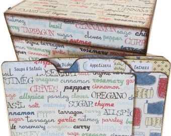 Wood Recipe Box, Tab Divider SET, Holds 4x6 Cards, Decoupage Handcrafted, Custom Designs. Kitchen Decor, Organizer, Storage, MADE To ORDER