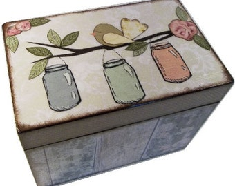 Recipe Box, Wood Recipe, Greeting Card Box, Rustic Mason Jar Bird, Wedding Recipe, Bridal Shower Box, Holds 5x8 Cards, MADE TO ORDER