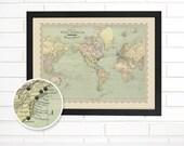 "Vintage World Map Wall Art, Customized ""Map of the World"", Pushpin Travel Map"