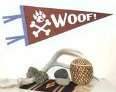 Woof! Puppy love Pennant Silkscreen Hand Screen Printed on Brown Wool Felt