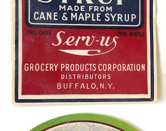 Two vintage maple syrup advertising labels Raynolds Poughkeepsie NY Serv Us Grocery Buffalo ephemera paper crafts kitchen country